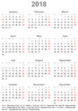 Simple calendar 2018 with public holidays for USA. Simple calendar 2018 - one year at a glance - starts Monday with public holidays for the USA in a portrait Stock Photos