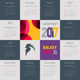 Simple calendar 2017 with rooster, symbol of 2017 on the Chinese calendar. Vector illustration of simple calendar with rooster, symbol of 2017 on the Chinese Stock Image