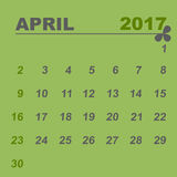 Simple calendar template of april 2017. Stock vector Royalty Free Stock Image