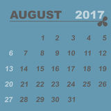 Simple calendar template of august 2017. Stock vector Stock Photos