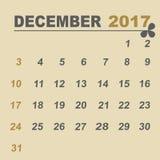 Simple calendar template of december 2017. Stock vector Royalty Free Stock Photos