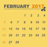 Simple calendar template of february 2017. Stock vector Stock Image