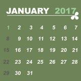 Simple calendar template of january 2017. Stock vector Stock Photos
