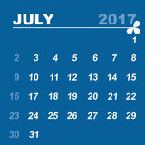 Simple calendar template of july 2017. Stock vector Stock Image