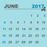 Simple calendar template of june 2017. Stock vector Stock Photography