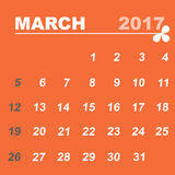Simple calendar template of march 2017. Stock vector Stock Images
