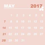 Simple calendar template of may 2017. Stock vector Royalty Free Stock Photos