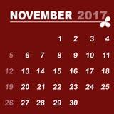 Simple calendar template of november 2017. Stock vector Royalty Free Stock Photography