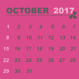 Simple calendar template of october 2017. Stock vector Stock Photography