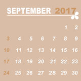 Simple calendar template of september 2017. Stock vector Stock Image