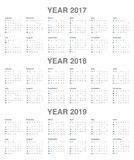 Simple Calendar template for 2017 to 2019 Royalty Free Stock Photo