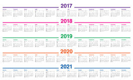 Simple Calendar template for 2017 to 2021. Simple Calendar template for 2017, 2018, 2019, 2020 and 2021 Royalty Free Stock Photo