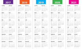 Simple Calendar template for 2017 to 2021. Simple Calendar template for 2017, 2018, 2019, 2020 and 2021 Stock Photos