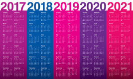 Simple Calendar template for 2017 to 2021. Simple Calendar template for 2017, 2018, 2019, 2020 and 2021 Royalty Free Stock Photography