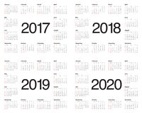 Simple Calendar template for 2017 to 2020 Royalty Free Stock Photo
