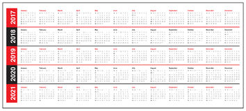 Simple Calendar template for 2017 to 2021 Royalty Free Stock Photos