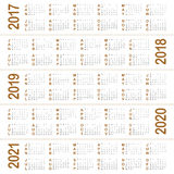 Simple Calendar template for 2017 to 2021 Royalty Free Stock Images