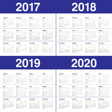 Simple Calendar template for 2017 to 2020 Stock Photography