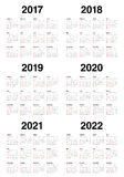 Simple Calendar template for 2017 to 2022 Royalty Free Stock Photography