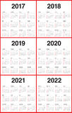 Simple Calendar template for 2017 to 2022. Simple red and black color Calendar template for 2017, 2018, 2019, 2020, 2021 and 2022 Stock Photography