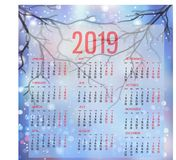 Simple Calendar template for 2019. Week starts from Monday. vector illustration