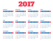 Simple calendar 2017 template Stock Image