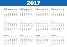 Simple calendar 2017 template. Simple 2017 year calendar. Clean, modern, flat style calendar for 2017 isolated on a white background. Week starts with Sunday Royalty Free Illustration