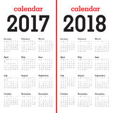 Simple Calendar template for 2017 and 2018 Royalty Free Stock Image