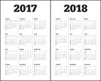 Simple Calendar template for 2017 and 2018 Stock Image