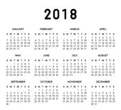 2018 Simple Calendar. Calendar vector design and template. Isolated background Vector Illustration