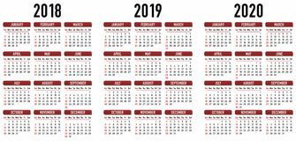 Simple Calendar 2018, 2019, 2020. Vector Graphic Royalty Free Stock Photography