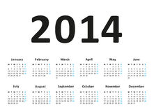 Simple 2014 Calendar Royalty Free Stock Images