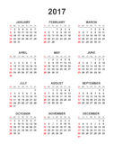 Simple calendar 2017. In vertical style. Flat  illustration on white background Stock Images