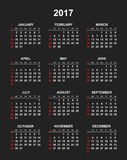 Simple calendar 2017. In vertical style. Flat vector illustration on black background Royalty Free Stock Image