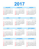 Simple calendar 2017 in vertical style. Flat vector illustration on white background Stock Photo