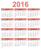 Simple calendar 2016. Week starts on Monday. Vector illustration Royalty Free Stock Images