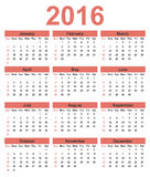 Simple calendar 2016. Week starts on Sunday. Simple calendar 2016. Week starts on Monday. Vector illustration Stock Images