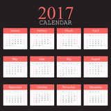Simple calendar 2017.Week starts from sunday.Vector illustration.  Royalty Free Stock Photo