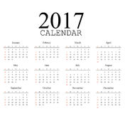Simple calendar 2017.Week starts from sunday.Vector illustration Stock Photo
