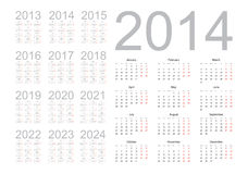 Simple calendar 2014 Stock Images