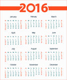 2016 simple calendar white background. Week starts with Sunday. Vector illustration Stock Photo