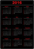 Simple Calendar 2016. Simple Calendar for the year 2016 on a black background - vector Stock Image