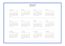 Simple calendar for 2017 year in french language. 2017 year simple blue calendar in french language,  on white background Stock Photo