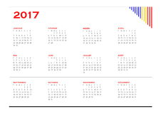 Simple calendar for 2017 year in french language Stock Photos
