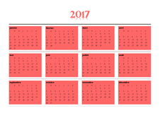 Simple calendar for 2017 year in french language. 2017 year simple red calendar in french language,  on white background Stock Images