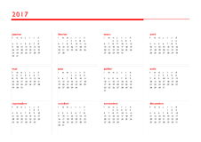 Simple calendar for 2017 year in french language. 2017 year simple red calendar in french language,  on white background Royalty Free Stock Image