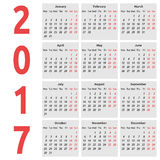 Simple calendar, 2017 year Royalty Free Stock Photography