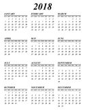 Simple calendar for year 2017 sundays first Royalty Free Illustration