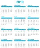 Simple calendar for year 2019 sundays first on white background. Simple calendar for year 2019 sundays first Stock Photography