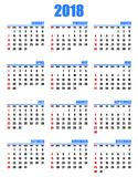 Simple calendar for year 2018 sundays in red first Stock Photo